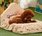 New Pastoralism Style Flower Cotton Pet Dog Cat Sofa Bed House +Pillow Size M