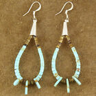 Native American Turquoise Heishi Penn Shell Loop French Hook Earrings
