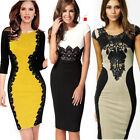 Sexy Bodycon Pencil Cocktail Women Sleeve Celeb Ladies Lace Party Evening Dress