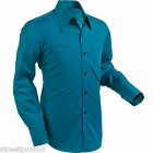 Chenaski Mens Petrol Blue Retro 70's Styled Plain Coloured Shirt Vintage Indie