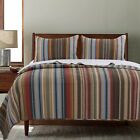 BEAUTIFUL COZY REVERSIBLE BLUE RED BROWN TAUPE LODGE LOG CABIN STRIPE QUILT SET image