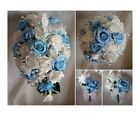 Brides,Bridesmaids Wedding Bouquet Flowers blue/Ivory or White with.butterflies