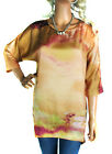 SIZE 8 - 14 LADIES Orange Silky TOP WATER COLOURS LONG TUNIC Top/ Dress