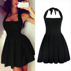 Sexy Womens Halter Bodycon Party Cocktail Evening Mini Skater Little Black Dress