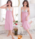 Sexy Lingerie Babydoll Underwear Pink Long Gowns Chiffon Nightie Sleep Dress