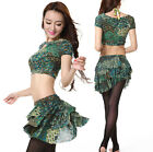 New 2015 Women Belly Dance Costume Dancewear Stage 2Pics Prints Top Skirt Summer
