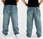 #134 Men Hip Hop Fashion Washed Pleated Blue Pants Simple Trousers Casual Jeans