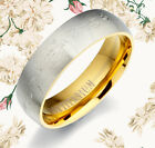 MEN Women Gold Matte Titanium Wedding Ring MTAU089E1