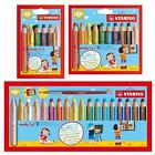 Stabilo Woody 3in1 Thick Colouring Pencils Wax Crayons Watercolour - 6, 10, 18
