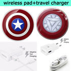 Travel Fast Charger+Marvel Qi Wireless Charging Pad For Samsung S6/S6 edge+Note5