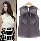 2015 Women's Lady Sleeveless Tops Shirt Blouse Casual Party Bowknot Vest