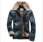 Hot Winter Men's Denim Fur Lined Fur Collar Slim Fit Cool Jacket Coat Outwear