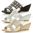 WOMENS LADIES MID HEEL WEDGE PEEPTOE CUT OUT DIAMANTE MULES SANDALS SHOES SIZE