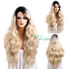 "28"" Long Curly Golden Blonde With Black Lace Front Synthetic Wig"