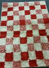 5cm Pile Modern Beige / Red Thick Shaggy Rug / Carpet Comes in Rug or Runner