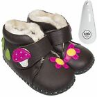 Girls Toddler Leather Soft Sole Baby Boots Booties Brown & Hot Pink & Shoe Horn