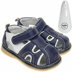 Boys Toddler Leather Squeaky Shoes Sandals Navy Blue & White & Shoe Horn