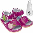 Girls Toddler Childrens Leather Squeaky Shoes Sandals - Cerise & Shoe Horn