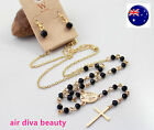 Women Lady Fashion Cross Rosary Long Beads Beaded Necklace Chain +Earring set