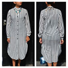 NEW LADIES FULL SLEEVE BUTTON DOWN STRIPES COLLARED KNEE LENGTH SHIRT DRESS