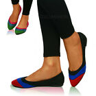 New Womens Multi Colour Flats Pumps Ladies Ballet Dolly Ballerina Shoes Size 3-8