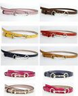 New Authentic Gucci Womens Leather Thin Skinny Belt w/Horsebit Buckle 282349