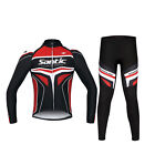 SANTIC Racing Team Years Professional 4D Pad Long Cycling Suits Red Color Style