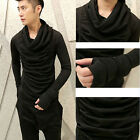 Long Sleeved Men's Turtleneck Black Pleated Fashion Tops Tees Casual T-shirts