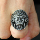 Mens Indian Chief Head Ring Native American Stainless Steel Size 8 9 10 11 12 13