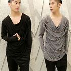 Mens Personalized Draped Collar Tassels T-shirt Stage Casual Tee Tops Black Gray