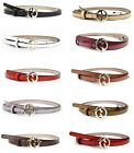 New GUCCI Women's Leather Thin Skinny Belt w/Interlocking G Buckle 362731
