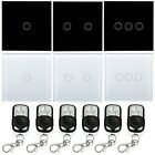 1/2/3Gang Crystal Glass Panel Wall Touch Switch Black/white+ Remote Control