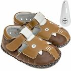 Girls Boys Toddler Leather Soft Sole Baby Shoes Brown & Tan Elephant & Shoe Horn