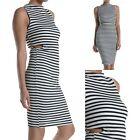 Striped Sleeveless Round Neck Open Waist Fitted Bodycon Pencil Dress S M L