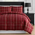 Red Plaid Down Alternative Twin Full Queen & King Comforter Set image