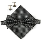 Mens Tied Bow Tie Set hanky & cuffs Wedding Groomsman Tuxedo Formal dot design