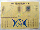 LARGE A3 MOON PHASE LUNAR CALENDAR 2016 poster wicca pagan spell astrology BOS