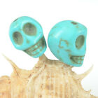Aqua Turquoise Carved Skull Skeleton Spacer Beads DIY Jewelry Findings Free Ship