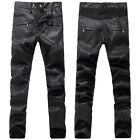 New Mens Italy Style Distressed Moto Pants Black PU Leather Biker Trousers B903C