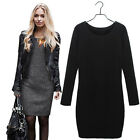 Women's Long Sleeve Warm Winter Dress Pullover Sweater Slim Thick Pencil Dress