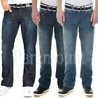 Crosshatch Boot Cut Belted Denim Jeans  Mens Size