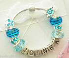 charms bracelet add name personalise blue childrens teenagers daughters sister