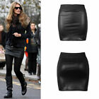 New Ladies Women Wetlook Pencil Short Bodycon Girls Mini Skirt Stretch Waist