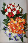 Artificial Silk  Rosebud Gerbera Gyp  Leather Fern Bunch Wedding Bouquet Flowers