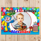 Personalised Clown Happy 1st 2nd 3rd 4th 5th Birthday PHOTO Poster Banner N8