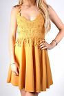 Brand New Mustard Crochet Design Lace Up Back Plunge Skater Party Evening Dress