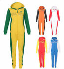 KIDS COLOUR ONESIE BOYS GIRLS HOODED ZIP ALL IN ONE JUMPSUIT CHILDREN FOOTBALL