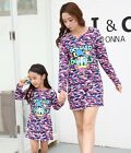 1pcs FAMILY Girls long sleeve Dresses Woman Girl camouflage cartoon Party dress