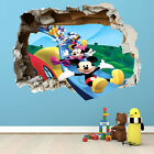 MICKEY MOUSE SMASHED WALL STICKER - 3D BEDROOM BOYS GIRLS WALL ART DECAL