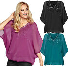 Ladies Sequin Top UK Size 8 - 18 Batwing Embellished Tunic